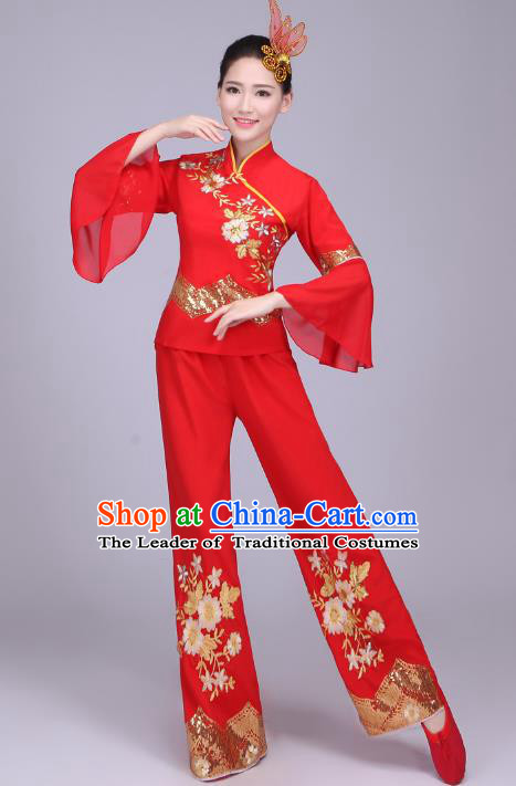 Traditional Chinese Yangge Dance Embroidered Costume, Folk Fan Dance Red Uniform Classical Dance Clothing for Women