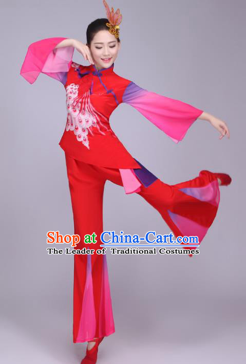 Traditional Chinese Yangge Dance Embroidered Costume, Folk Fan Dance Red Mandarin Sleeve Uniform Classical Dance Clothing for Women