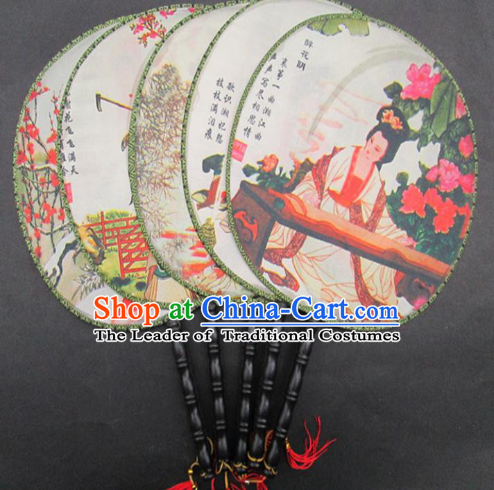 Top Grade Handmade Chinese Accessories Palace Lady Round Fans for Women