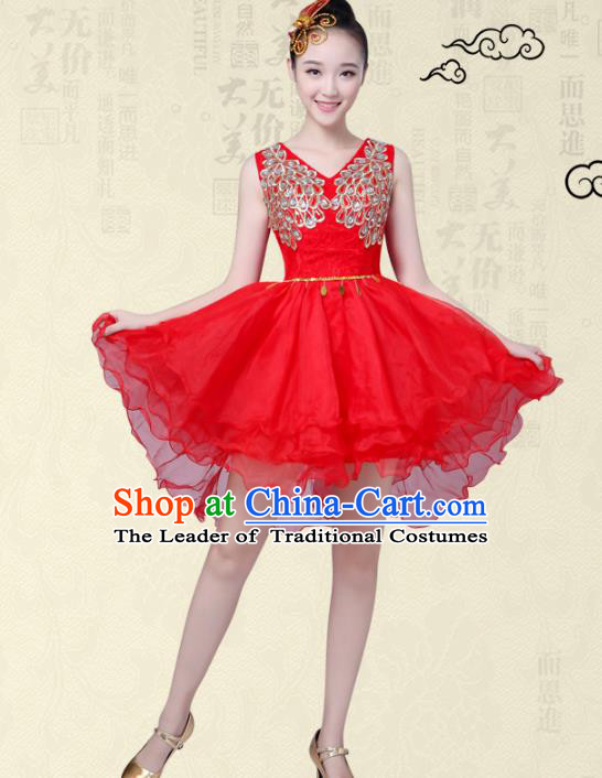 China Modern Dance Professional Chorus Competition Costume, Opening Dance Embroidered Red Bubble Dress for Women