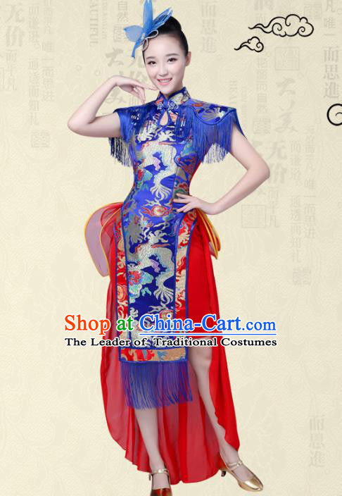 China Modern Dance Professional Chorus Competition Costume Blue Cheongsam, Opening Jazz Dance Embroidered Dress for Women