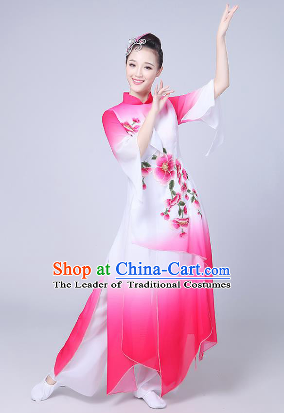 Traditional Chinese Classical Yanko Dance Embroidered Costume, Folk Fan Dance Pink Uniform Umbrella Dance Dress for Women