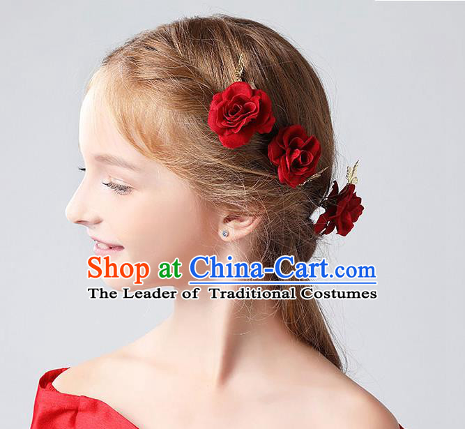 Handmade Children Hair Accessories Red Rose Hair Stick, Princess Model Show Headwear Hair Clasp for Kids