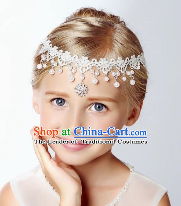 Handmade Children Hair Accessories Crystal Lace Forehead Ornament, Princess Model Show Headwear Hair Clasp for Kids