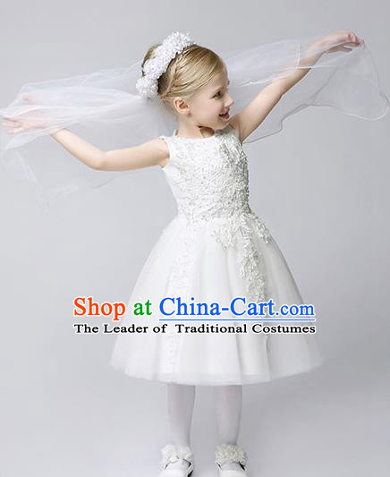 Children Modern Dance Costume White Embroidery Bubble Dress, Ceremonial Occasions Model Show Princess Veil Full Dress for Girls