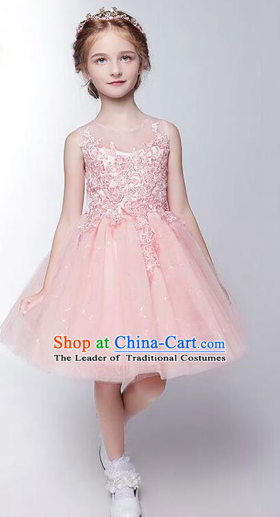 Children Modern Dance Costume Embroidery Christmas Pink Veil Bubble Dress, Ceremonial Occasions Performance Princess Short Full Dress for Girls