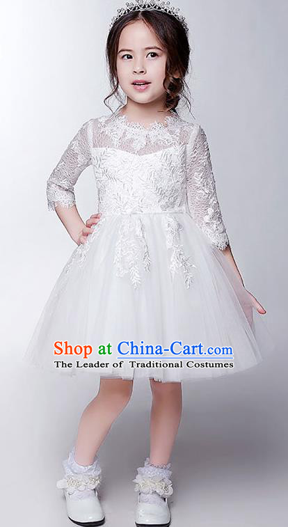 Children Model Show Dance Costume White Veil Lace Bubble Dress, Ceremonial Occasions Catwalks Princess Short Full Dress for Girls