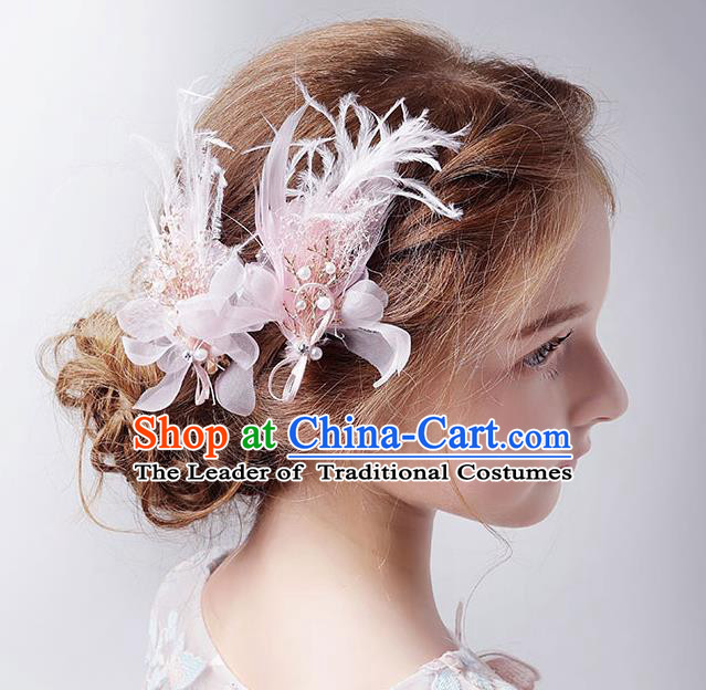 Handmade Children Hair Accessories Pink Feather Flowers Hair Stick, Princess Halloween Model Show Headwear for Kids