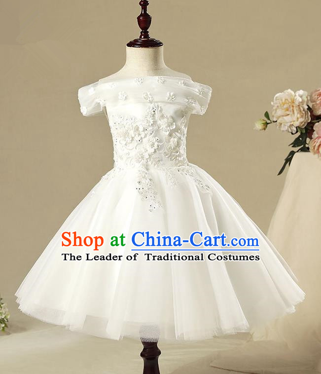 Children Model Show Dance Costume Off Shoulder White Dress, Ceremonial Occasions Catwalks Princess Full Dress for Girls
