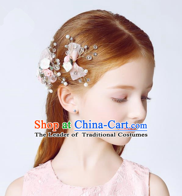 Handmade Children Hair Accessories Pink Flowers Bowknot Hair Clasp, Princess Halloween Model Show Headwear for Kids