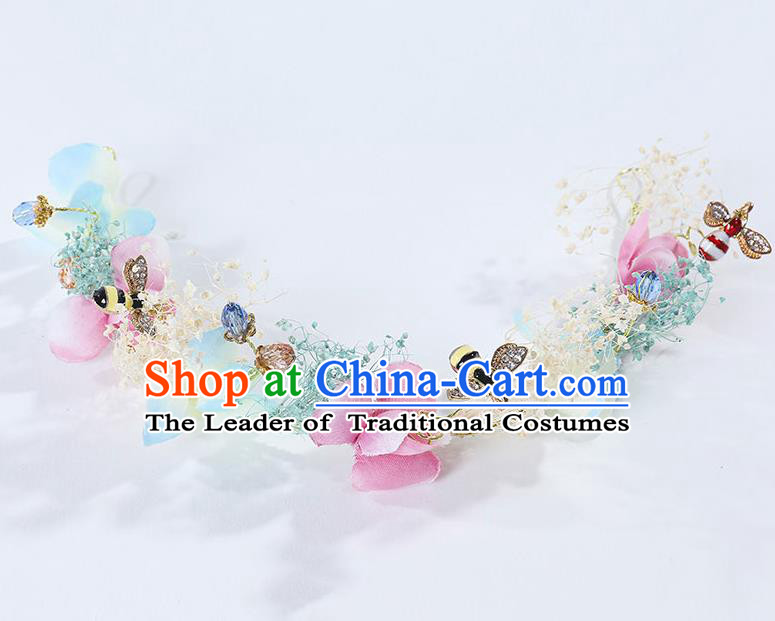 Handmade Children Hair Accessories Flowers Hair Stick, Princess Halloween Model Show Hair Clasp Headwear for Kids