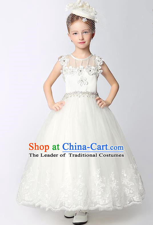 Children Model Dance Costume Compere White Crystal Full Dress, Ceremonial Occasions Catwalks Princess Embroidery Dress for Girls