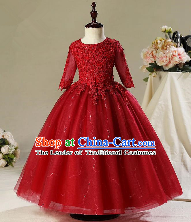 Children Modern Dance Costume Compere Wine Red Veil Embroidery Evening Dress Princess Long Dress for Girls