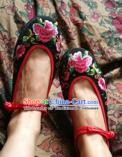 Asian Chinese National Embroidered Shoes, Traditional China Handmade Shoes Hanfu Embroidery Peony Black Shoes for Women