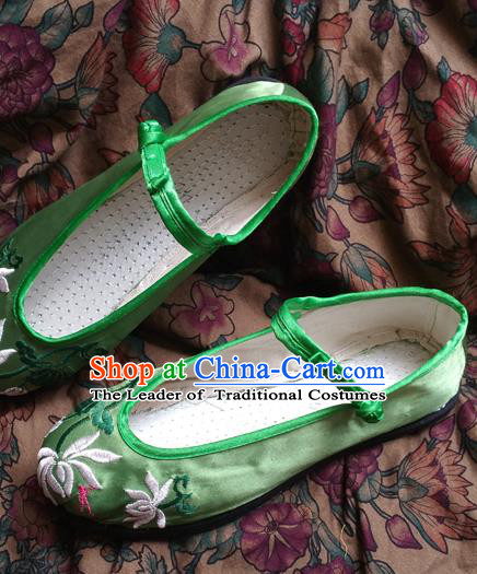 Traditional Chinese National Green Satin Embroidered Shoes, China Handmade Shoes Hanfu Embroidery Shoes for Women