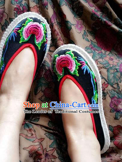 Traditional Chinese National Black Melaleuca Shoes Embroidered Shoes, China Handmade Shoes Hanfu Embroidery Shoes for Women