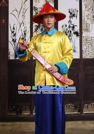 Traditional Ancient Chinese Manchu Soldier Costume, Asian Chinese Qing Dynasty Imperial Bodyguard Clothing for Men