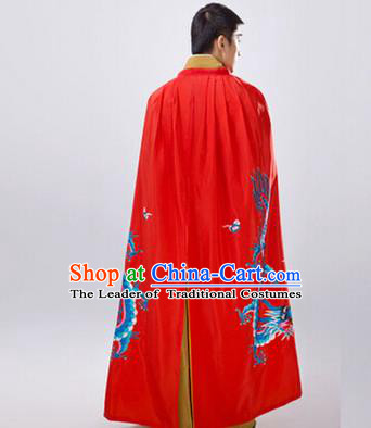 Traditional Ancient Chinese Manchu Prince Costume Long Red Cloak, Asian Chinese Qing Dynasty Royal Highness Embroidered Mantle Clothing for Men