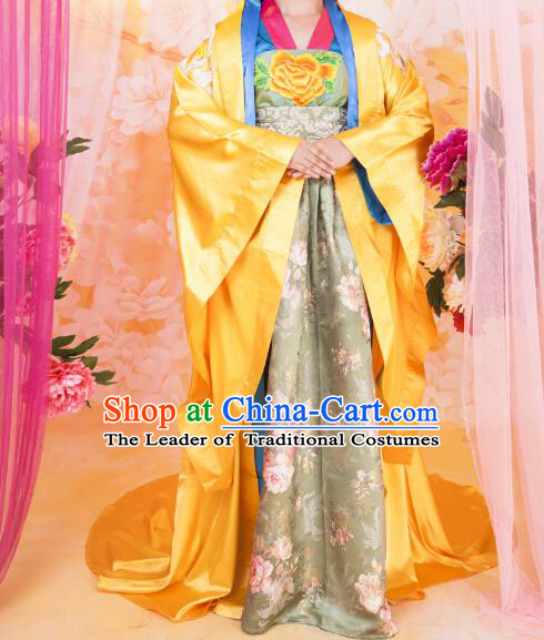 Asian China Ancient Tang Dynasty Palace Lady Costume, Traditional Chinese Hanfu Imperial Consort Embroidered Golden Dress Clothing for Women