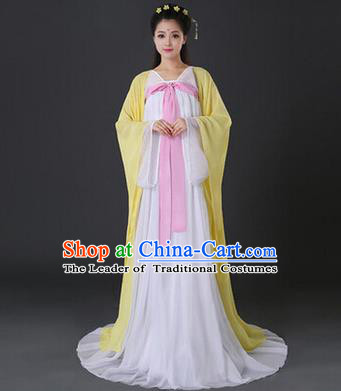Asian China Ancient Tang Dynasty Palace Lady Costume, Traditional Chinese Princess Hanfu Embroidered Yellow Dress Clothing for Women