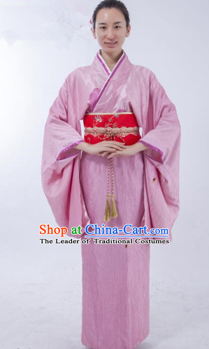 Asian China Ancient Han Dynasty Palace Lady Costume, Traditional Chinese Hanfu Embroidered Pink Curve Bottom Clothing for Women