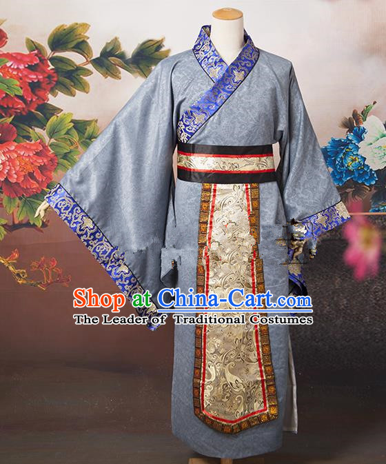 Traditional Ancient Chinese Chancellor Costume, Asian Chinese Tang Dynasty Minister Grey Clothing for Men