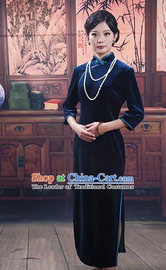 Traditional Ancient Chinese Republic of China Gentlewoman Cheongsam, Asian Chinese Chirpaur Blue Velvet Qipao Dress Clothing for Women