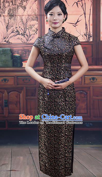 Traditional Ancient Chinese Republic of China Gentlewoman Cheongsam, Asian Chinese Chirpaur Black Silk Qipao Dress Clothing for Women