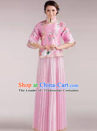 Traditional Ancient Chinese Manchu Nobility Lady Costume, Asian Chinese Qing Dynasty Embroidered Pink Dress Clothing for Women