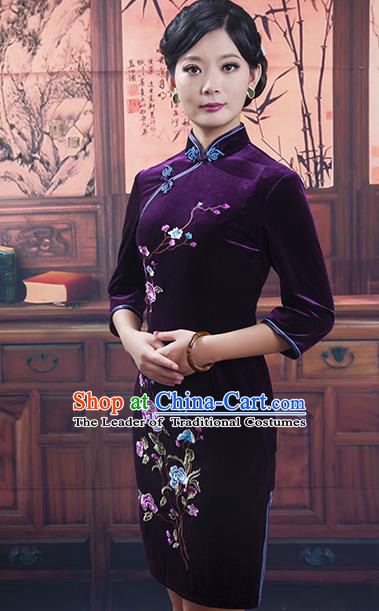 Traditional Ancient Chinese Republic of China Cheongsam, Asian Chinese Chirpaur Purple Velvet Embroidered Qipao Dress Clothing for Women