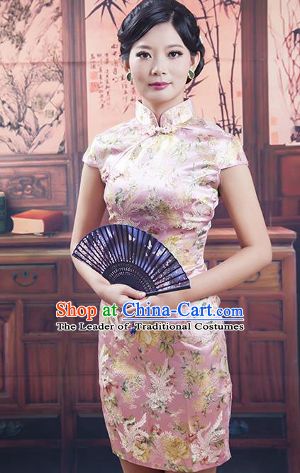Traditional Ancient Chinese Republic of China Cheongsam, Asian Chinese Chirpaur Pink Silk Embroidered Qipao Dress Clothing for Women
