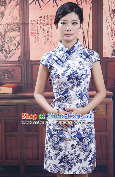 Traditional Ancient Chinese Republic of China Cheongsam, Asian Chinese Chirpaur Blue Embroidered Qipao Dress Clothing for Women