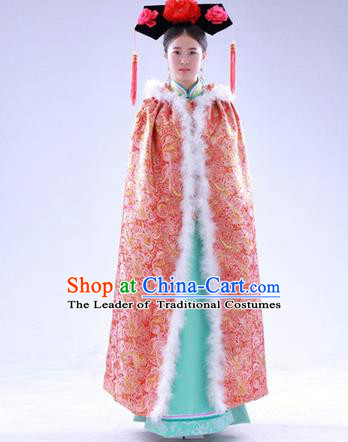 Traditional Ancient Chinese Manchu Palace Lady Costume Long Cloak, Asian Chinese Qing Dynasty Princess Embroidered Pink Mantle Clothing for Women