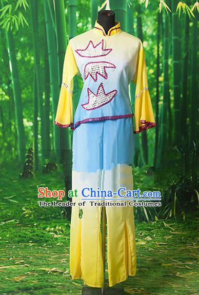 Traditional Chinese Classical Dance Yangge Fan Dancing Costume, Folk Dance Drum Dance Yangko Yellow Clothing for Women