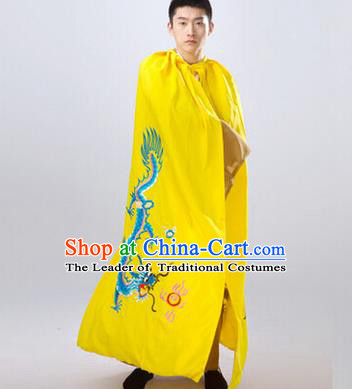 Traditional Ancient Chinese Manchu Prince Costume Long Yellow Cloak, Asian Chinese Qing Dynasty Royal Highness Embroidered Mantle Clothing for Men