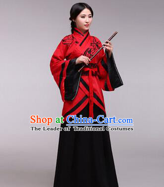 Traditional Ancient Chinese Imperial Consort Costume, Elegant Hanfu Chinese Han Dynasty Imperial Empress Black Embroidered Clothing for Women