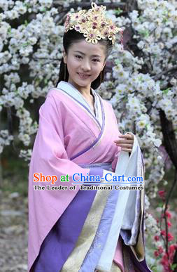 Traditional Ancient Chinese Imperial Consort Costume, Elegant Hanfu Chinese Han Dynasty Imperial Empress Pink Embroidered Clothing for Women