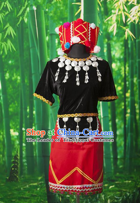 Traditional Chinese Miao Nationality Dancing Costume, Hmong Female Folk Dance Ethnic Pleated Skirt, Chinese Minority Nationality Embroidery Costume for Women