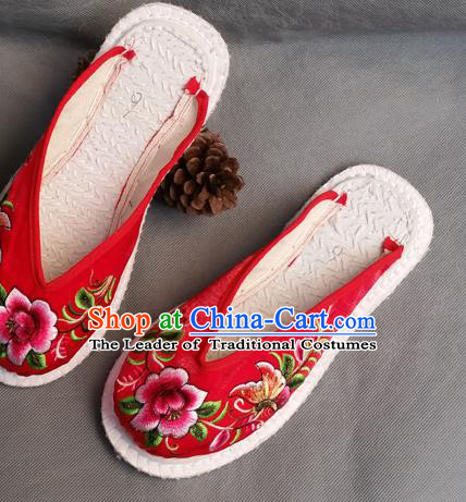 Traditional Chinese National Embroidered Shoes Handmade Red Cloth Slippers, China Hanfu Embroidery Flowers Shoes for Women