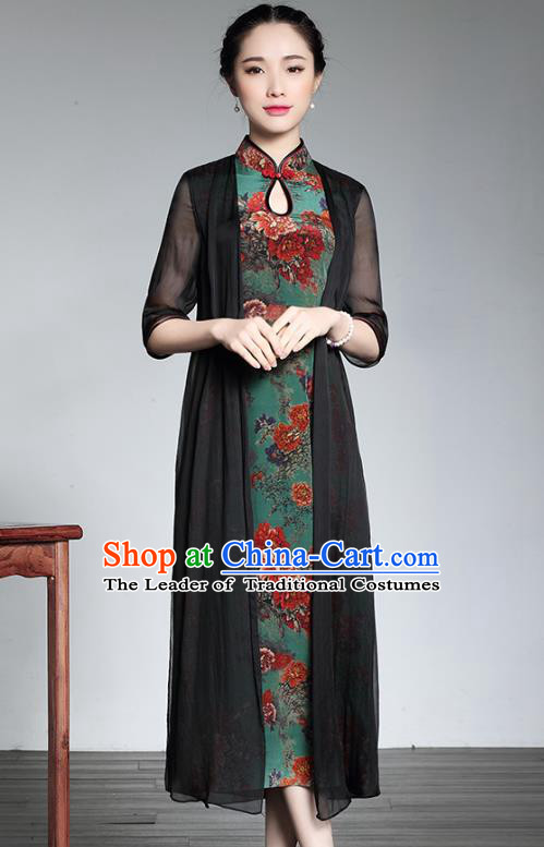Traditional Chinese National Costume Elegant Hanfu Cheongsam, China Tang Suit Plated Buttons Chirpaur Dress for Women