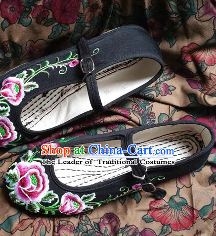 cf5ded36e6b0 Traditional Chinese National Embroidered Shoes Handmade Black Cloth Wedding  Shoes