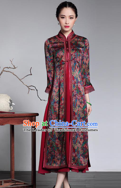 Traditional Chinese National Costume Elegant Hanfu Cheongsam Coat, China Tang Suit Plated Buttons Chirpaur Dust Coat for Women