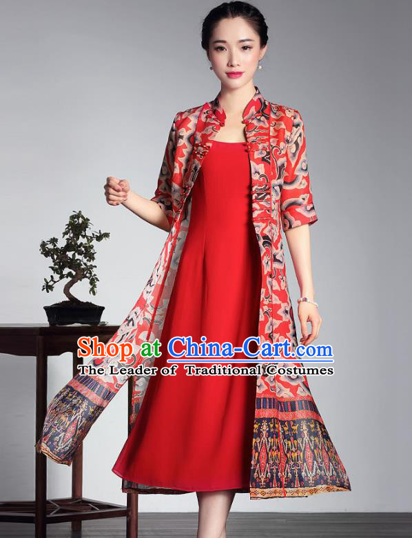 8b37cee5f97 Traditional Chinese National Costume Elegant Hanfu Red Cheongsam Long Coat