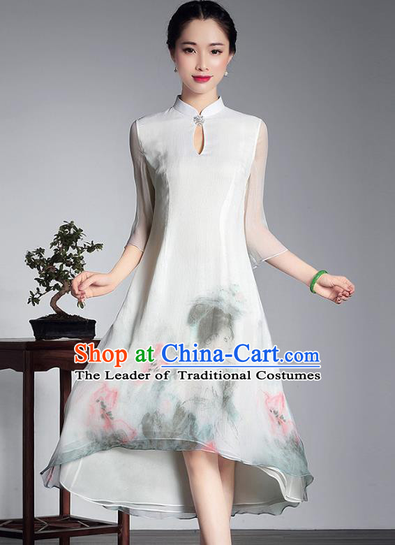 Traditional Chinese National Costume Elegant Hanfu Plated Button Hand Painting White Qipao Dress, China Tang Suit Cheongsam for Women