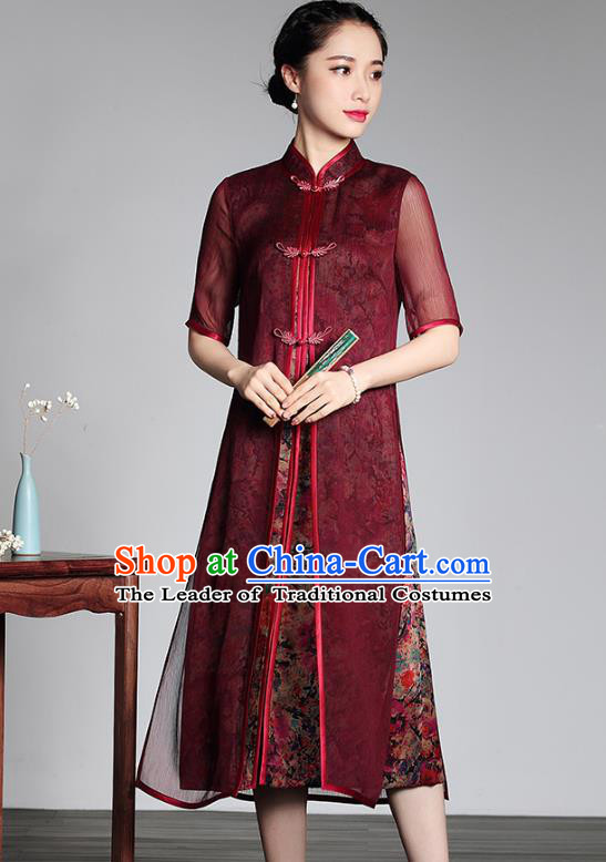 Traditional Chinese National Costume Elegant Hanfu Plated Buttons Qipao Dress, China Tang Suit Cheongsam for Women