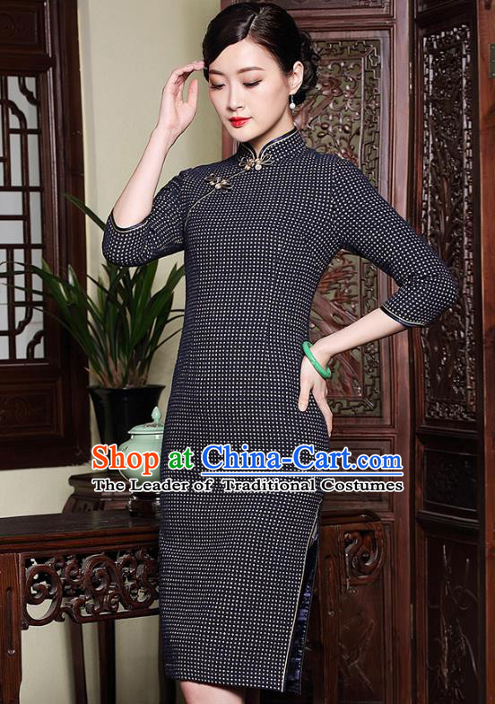 Traditional Chinese National Costume Elegant Hanfu Plated Buttons Qipao, China Tang Suit Cheongsam Dress for Women