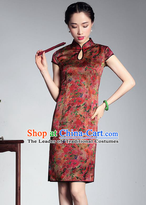 Traditional Chinese National Costume Elegant Hanfu Plated Button Mandarin Qipao, China Tang Suit Cheongsam for Women