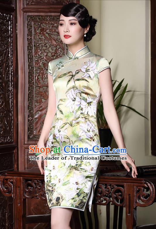 Traditional Chinese National Costume Elegant Hanfu Plated Buttons Qipao, China Tang Suit Silk Printing Cheongsam Dress for Women