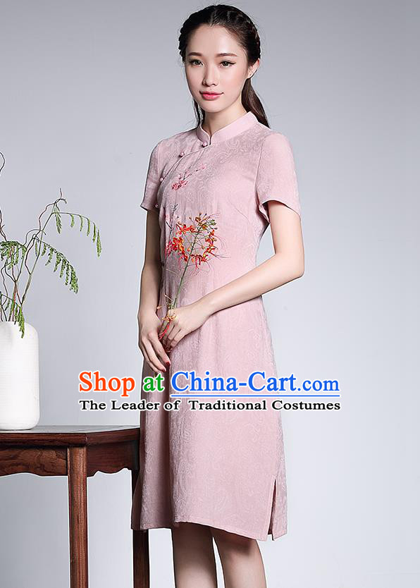 Traditional Chinese National Costume Hanfu Plated Button Pink Linen Qipao Dress, China Tang Suit Cheongsam for Women