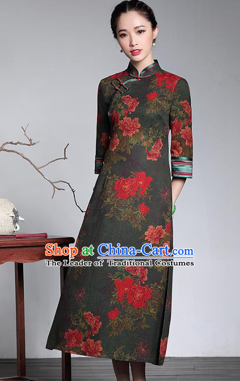 Traditional Chinese National Costume Printing Silk Qipao Dress, China Tang Suit Chirpaur Robe Cheongsam for Women
